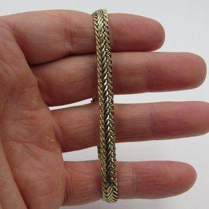 Vintage Silver Tone Simple Braided Bracelet